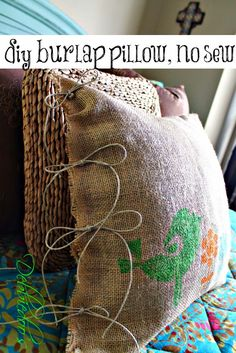 DIY Projects with Burlap and Creative Burlap Crafts for Home Decor, Gifts and More | No Sew Burlap Pillow Stenciled with Fabric Markers |  http://diyjoy.com/diy-projects-with-burlap