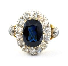 Sapphire Diamond Cluster Ring (US) or T (UK) Yellow Gold Vintage Engagement Ring by fkantique on Etsy Sapphire Jewelry, Sapphire Diamond, Sapphire Rings, Vintage Gold Engagement Rings, Vintage Jewelry, Unique Jewelry, Diamond Cluster Ring, Gold Rings, Cushion Cut