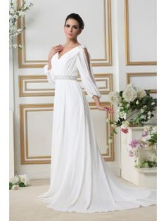 c8f24c414d496 Glamorous 3 4-Length Empire V-neck Court Train Sleeves Taline s Wedding  Dress