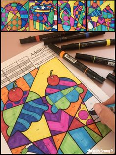 Summer math coloring sheets for kids. A fun way to review math facts!