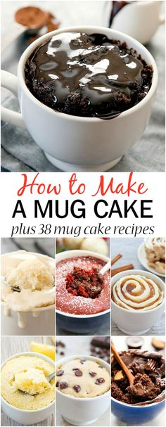 How to Make a Mug Cake plus 38 mug cake recipes. Easy, single serving desserts t. How to Make a Mug Cake plus 38 mug cake recipes. Easy, single serving desserts that cook in the microwave in about 1 minute! Microwave Mug Recipes, Mug Cake Microwave, Easy Microwave Desserts, Microwave Food, Easy Cake Recipes, Easy Desserts, Baking Recipes, Mug Dessert Recipes, Healthy Mug Recipes