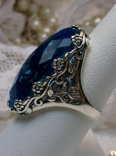 Big Oval Sim Swiss Blue Topaz gem Flower Floral Filigree Sterling Silver Ring {Made To Order} Mens Silver Necklace, Mens Silver Rings, Sterling Silver Jewelry, Silver Earrings, Mens Silver Jewelry, Onyx Necklace, Garnet Necklace, Gold Jewellery, Marcasite Jewelry