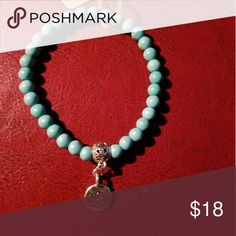 Lotus flower turquoise stretch bracelet Handmade natural stones howlite dyed turquoise beads with lotus charm Buddhist bracelet Jewelry Bracelets