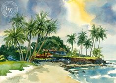 Poipu, Kauai, California art by Sid Bingham. HD giclee art prints for sale at CaliforniaWatercolor.com - original California paintings, & premium giclee prints for sale