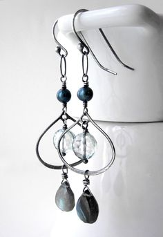 Gorgeous labradorite and seafoam green quartz gemstone chandelier earrings. The…