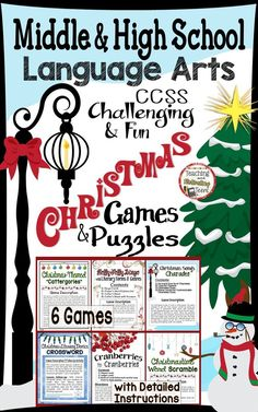 """Christmas Games for Middle & High School Language Arts. Six Christmas-themed, yet challenging games and puzzles - Charades, """"Cattergories"""" (based on Scattergories), Literary Devices Crossword Puzzle, Genres Bingo, Word Scramble, and Cranberries to Cranberries. Use these engaging, student-friendly games sporadically throughout the month of December, for one game-day in stations, or however you choose. Games can be played in partners, in small groups, or as a class. Challenging and f"""