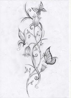 lumenranken Tattoo Vorlage Blumen und Schmetterlinge stilisiert