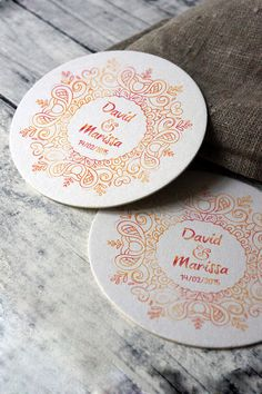 Wedding Personalized Mandala Coasters Set Custom by HappyTable