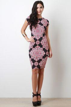 Batik Print Bodycon Dress