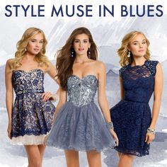 SHOP NOW at Camille La Vie! Short Blue dresses in lace and mirrors for Homecoming and Prom