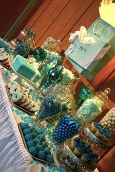 Jackie Sorkin's Fabulously Fun Candy Girls, Candy World, Candy Buffets & Event Industry Bl: Tiffany & Company T&Co Meet P&Co Inspired Bridal Shower! Tiffany would have been proud of our Glam-tastic Candy Buffet, Dessert Stations, Custom Cake & Pearly T&Co Donuts!