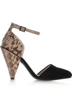 SEE BY CHLOÉ Suede And Snake-Effect Leather Pumps. #seebychloé #shoes #pumps