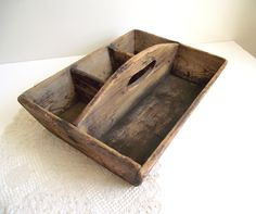 Primitive Wood Tote Caddy Farmhouse Cottage Chic by gazaboo, $78.00