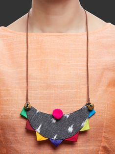 Multicolor Handcrafted Ikat Triangle Necklace Diy Fabric Jewellery, Textile Jewelry, Bead Jewellery, Jewelery, Fabric Necklace, Diy Necklace, Diy Earrings, Necklaces, Terracotta Jewellery