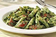 Creamy Spinach Penne recipe - Add a handful of fresh basil to the sauce before processing to get a real pesto flavor.