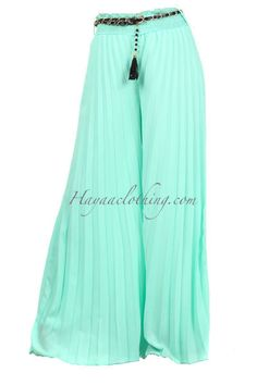 Get comfy with our soft flowy chiffon accordion pleats wide-leg palazzo pants in serene seafoam Wide Leg Palazzo Pants, Wide Leg Pants, Pajama Pants, Pajamas, Chiffon, Mint, Comfy, Legs, Sweet