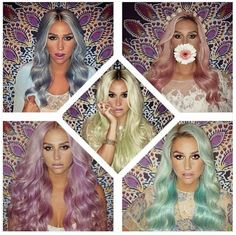 So obsessed with #Kesha's rainbow coloured hair - love her new 'baby green' shade! #HairEnvy