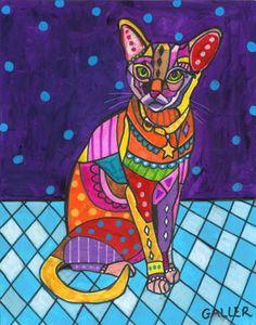 Cat Art  Abyssinian Art  Cat Folk Art Cat by HeatherGaller