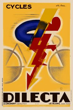 Cycles Dilecta Vintage French Bicycle Poster Print by Favre