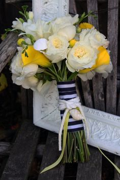 Nautical Bouquet, Beach Bouquet, Garden Roses, Michigan Beach Weddings