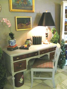 A vintage Desk and Chair painted in a mix of Chalk Paint® by Annie Sloan.  We love the veneered drawer fronts.  Painted by Patti at Sweet Pea's