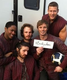 Bradley James and The Knights of The Round Table Cast Behind The Scenes Series 4 Merlin Tv Series, Merlin Cast, Lancelot Merlin, Watch Merlin, Bradley James, Merlin And Arthur, King Arthur, Angel Coulby, Tom Hopper