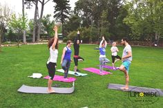 guests relaxing with some outdoor yoga in Cascais :)
