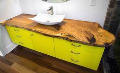 Bathroom Vanity, Live Edge Slab, Vessel sink