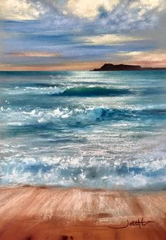 Painting the Mediterranean Sea; Isla Plana, Cartagena, Spain. Soft pastel and water on Fabriano paper. By Jorge Gómez.