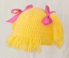 Cabbage Patch Kids Hat / Wig, Blonde Hair Crochet Beanie