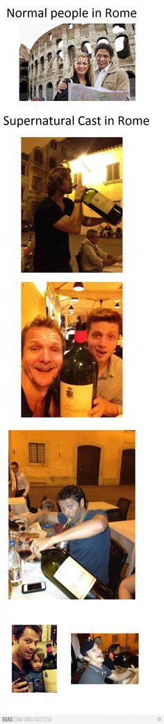 Huge wine bottles for huge men! Also, it's bigger than their children, awesome.