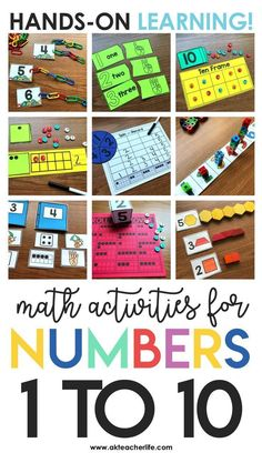 Math Centers for the Beginning of the Year (FREEBIE included Hands-on math Center activities for teaching students how to count and identify numbers 1 to – Kindergarten Lesson Plans Teaching Numbers, Math Numbers, Teaching Math, Decomposing Numbers, Primary Teaching, Teaching Ideas, Math Rotations, Eureka Math, Kindergarten Centers