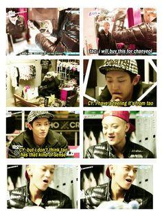 EXO'S SHOWTIME épisode 3 Chanyeol : Je ne pense pas que Tao puisse m'acheter cette casquette, il n'a pas assez de goûts O.o la tête de Tao xD