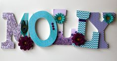 Custom Decorated Wood Letters:  Turquoise, Aqua and Purple with Peacock Feather and Flowers