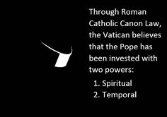 Through Roman Catholic Canon Law, the Vatican believes that the Pope has been…