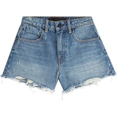 Alexander Wang High-Waisted Denim Shorts ($200) ❤ liked on Polyvore featuring shorts, blue, high-waisted cut-off shorts, high rise jean shorts, cut-off jean shorts, blue shorts and denim cutoff shorts