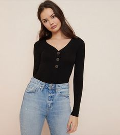 Your go-to base layer, a bodysuit is perfect for pulling a look together while keeping everything tucked in and tidy. Denim Skirt, Bodysuit, Product Description, Buttons, Heart Charm, Blouse, Long Sleeve, Skirts, Sleeves