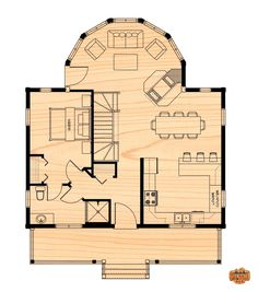 Cottage life special - the two storey - true north log homes Small House Floor Plans, Cabin Floor Plans, Dream House Plans, Small Room Design, Tiny House Design, Cottage Plan, Cottage Homes, Small Cottages, House Layouts