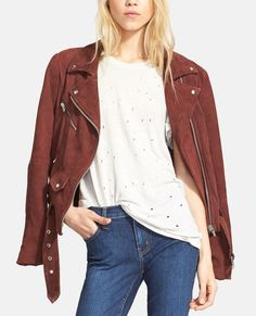 Totally digging the Americana vibes of this wine-hued suede biker jacket.