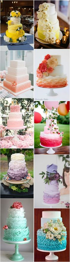 30 + ombre wedding cakes-yellow, coral, blue, pink, purple,gray See More: http://www.deerpearlflowers.com/delicate-ombre-wedding-cake-ideas/