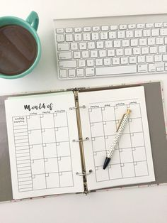 Monthly Calendar: Free Printable Planner Insert - Monthly view for A5 planners, mini binders, and mini Happy Planners - free digital download monthly at-a-glance planning insert