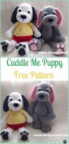 Crochet Cuddle Me Puppy Free Pattern - the grey and pink one for Granny
