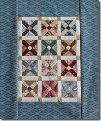 Miniature Quilt -- blocks made using Fold and Sew foundation. Tutorial