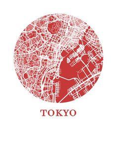Tokyo Map, Tokyo City, Tokyo Design, City Map Poster, Map Design, Branding Design, Graphic Design, Vintage Maps, City Maps