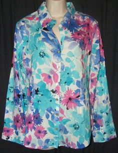NWOT Additions by Chico's Blue Purple Floral 100% Cotton Button Front Top 2 L in Clothing, Shoes & Accessories | eBay