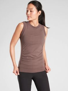Shop Athleta's Foresthill Ascent Tank: FOR: Hiking, climbing and exploring-on the trail or off, FEEL: Chafe-free seamless merino wool blend stretches with you, FAVE: Mesh on back provides cooling airflow, Gathering on side for a feminine detail Sporty Outfits, Sporty Style, Athletic Wear, Merino Wool, Wool Blend, Basic Tank Top, Feminine, Tank Tops, My Style