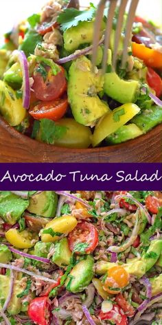 Tuna Avocado Salad - Very simple, flavorful, and tasty, this Avocado Tuna Salad requires just a few ingredients and 10 m - Avocado Tuna Salad, Avocado Salad Recipes, Best Salad Recipes, Lunch Recipes, Healthy Dinner Recipes, Vegetarian Recipes, Cooking Recipes, Avocado Chicken, Bacon Avocado