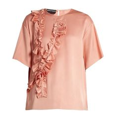 Rochas Ruffle-trimmed silk-satin blouse ($308) ❤ liked on Polyvore featuring tops, blouses, loose blouse, frilly blouse, ruffle top, pink ruffle top and red ruffle top