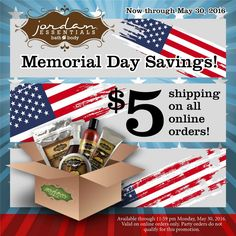 Saving you $$$ during Memorial Weekend!    $5 Shipping on all orders!  Load your cart full of Jordan Essentials products and pay ONLY $5 to have it shipped directly to your door!