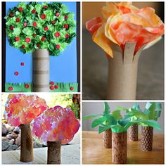 Here are a bunch of toilet paper roll tree crafts for kids to make! You can also use paper towel rolls or any cardboard tubes you have! Find apple trees, fall trees, and many more ideas!